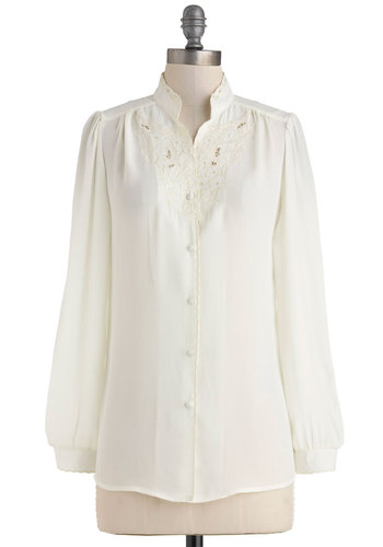 Everything is Heirloom-inated Top in Ivory by Myrtlewood - Mid-length, White, Solid, Buttons, Embroidery, Work, Vintage Inspired, Long Sleeve, Collared, Daytime Party, French / Victorian, Button Down, Sheer, Exclusives, Private Label, White, Long Sleeve