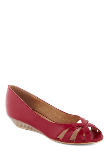 Student Teaching Wedge in Apple by Chelsea Crew - Red, Solid, Cutout, Wedge, Peep Toe, Low, Leather, Spring, Variation