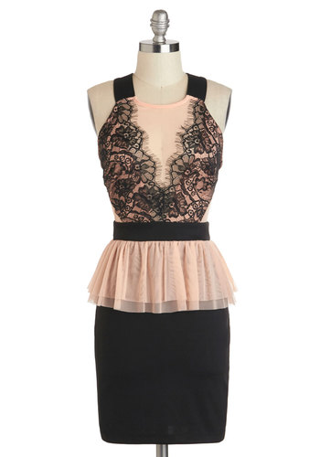 Bachelorette Bash Dress - Mid-length, Pink, Black, Lace, Party, Peplum, Racerback, Crew, Cocktail, Girls Night Out, Bodycon / Bandage