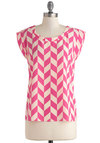 Breath of Fresh Arrow Top - Pink, White, Cutout, Casual, Short Sleeves, Mid-length, Print
