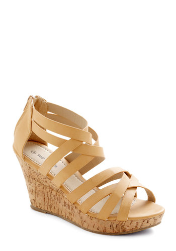 Tasting Tour Wedge in Oak - Tan, Platform, Wedge, Mid, Faux Leather, Solid, Party, Daytime Party, Summer, Strappy, Variation
