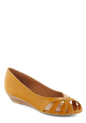 Student Teaching Wedge in Pencil Yellow by Chelsea Crew - Yellow, Solid, Cutout, Peep Toe, Wedge, Leather, Work, Low, Faux Leather, Variation