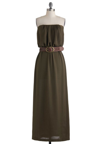 Gilded Forest Dress - Long, Green, Solid, Belted, Casual, Maxi, Strapless, Safari, Summer, Basic, Fall, Top Rated