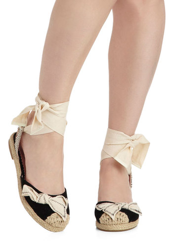 Boardwalk Date Flat - Black, White, Bows, Low, Spring