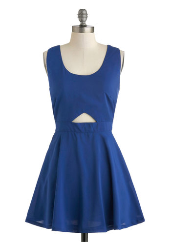 Swish Miss Dress - Short, Blue, Solid, Backless, Cutout, Party, Fit & Flare, Tank top (2 thick straps), Scoop, Girls Night Out, Summer