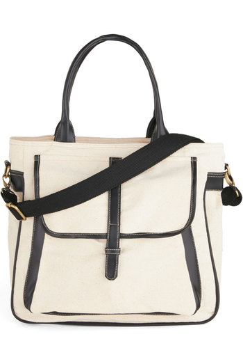 Flawless Transition Bag in Ecru - Cream, Solid, Trim, Black, Work, Casual, Scholastic/Collegiate, Top Rated