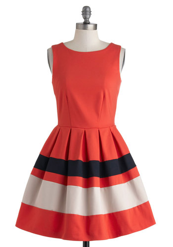 A Dreamboat Come True Dress - Pleats, Mid-length, Red, Tan / Cream, Black, Exposed zipper, Party, Fit & Flare, Sleeveless, Boat, Nautical, Spring