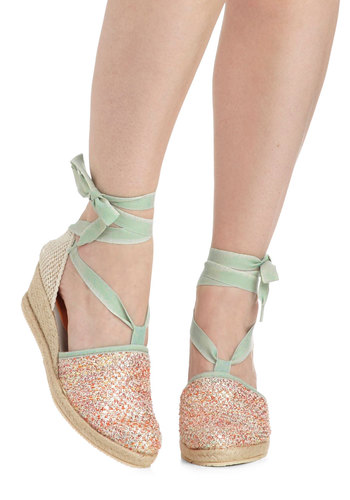 Fairytale Seafront Wedge by Ilse Jacobsen - Blue, Multi, Solid, Crochet, Wedge, Mid, Fairytale, Pastel, Spring, Summer