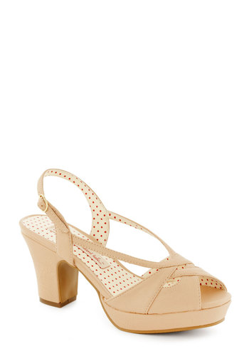 Drop of Flavor Heel in Rosewater by Bait Footwear - Mid, Tan, Solid, Wedding, Daytime Party, Graduation, Bridesmaid, Prom, Party, Vintage Inspired, Faux Leather, Platform, Peep Toe, Slingback, Variation
