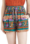 Dune It Right Shorts by Mink Pink - Multi, Pockets, Red, Yellow, Green, Blue, Purple, White, Print, Casual, 80s, Folk Art, Summer, High Waist