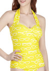 Nice to Sea You Swimsuit Top - Yellow, White, Novelty Print, Beach/Resort, Quirky, Halter, Summer