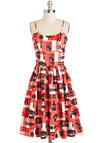 Dressed to Grill Dress by Bernie Dexter - Cotton, Red, Black, White, Novelty Print, Pockets, Casual, Quirky, A-line, Spaghetti Straps, Summer, Scoop, Long