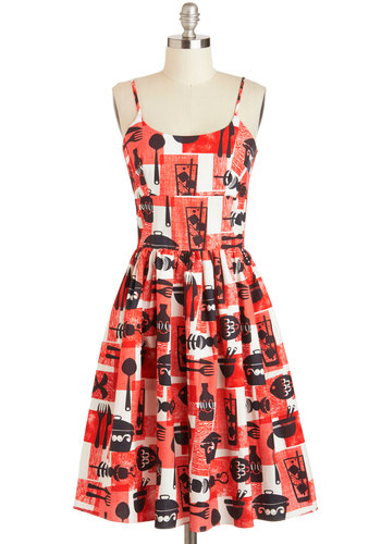 Dressed to Grill Dress - Cotton, Red, Black, White, Novelty Print, Pockets, Casual, Quirky, A-line, Spaghetti Straps, Summer, Scoop, Long