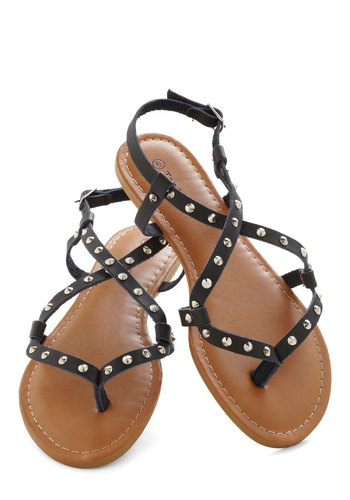 Pavilion Tickets Sandal - Flat, Black, Studs, Urban, Summer, Solid, Casual, Faux Leather, Strappy
