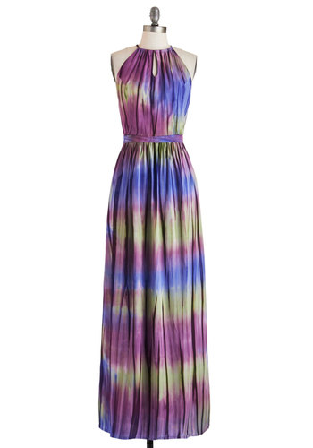 Adore a Borealis Dress by Sugarhill Boutique - International Designer, Purple, Green, Blue, Print, Cutout, Casual, Sleeveless, Maxi, Beach/Resort, Boho, Vintage Inspired, Long, Summer
