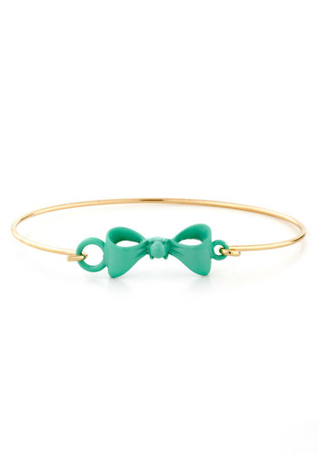 On the Bow Bracelet - Mint, Gold, Solid, Bows, Pastel, Summer, Gold