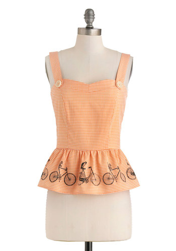 Along for the Ride Top by Knitted Dove - Orange, White, Checkered / Gingham, Buttons, Daytime Party, Vintage Inspired, Peplum, Tank top (2 thick straps), Summer, Mid-length, Owls