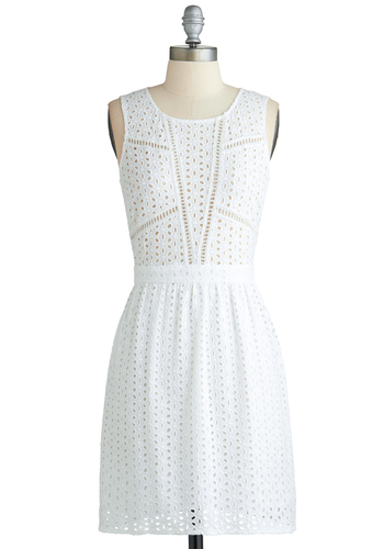 Weekend Whimsy Dress - Mid-length, White, Solid, Eyelet, Casual, A-line, Tank top (2 thick straps), Scoop, Beach/Resort, Summer