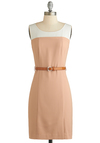 Special Surprise Dress - Mid-length, Tan, White, Belted, Work, Sheath / Shift, Tank top (2 thick straps), Scoop, Vintage Inspired, 60s, Summer