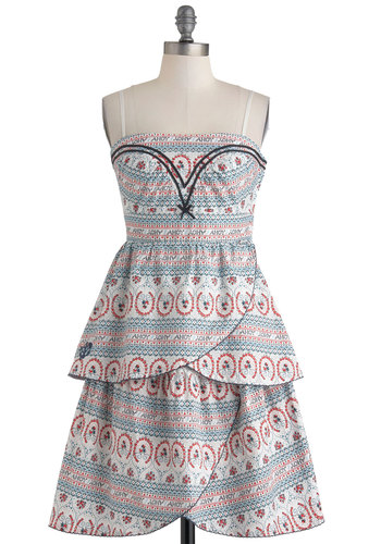 Skips Ahoy Dress by Blutsgeschwister - International Designer, Cotton, Mid-length, Red, Blue, Print, Embroidery, Tiered, Daytime Party, Empire, Spaghetti Straps, Beach/Resort, Nautical, White