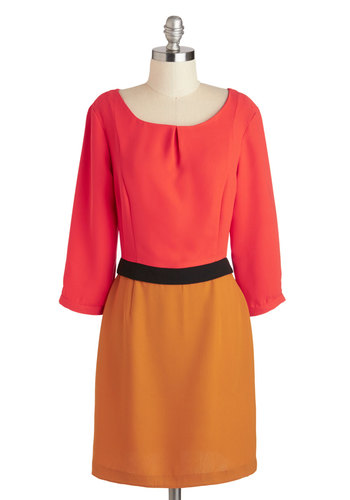 The Curry Diaries Dress - Orange, Pink, Exposed zipper, Work, Colorblocking, Shift, 3/4 Sleeve, Scoop