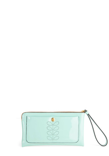 Orla Kiely Let's Hear It for the Poise Clutch by Orla Kiely - Mint, Solid, Embroidery, Exposed zipper, International Designer, Leather