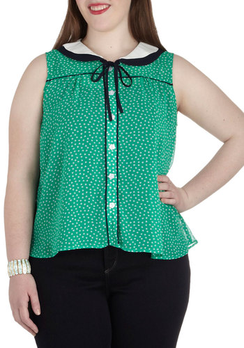 Je T'Adore Top in Plus Size - Sheer, 40s, 50s, 60s, Green, Black, White, Polka Dots, Buttons, Peter Pan Collar, Tie Neck, Work, Casual, Vintage Inspired, Summer