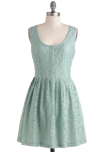 Cheer and Dear Dress in Mint by Jack by BB Dakota - Exclusives, Mint, Solid, Buttons, Lace, A-line, Tank top (2 thick straps), Scoop, Pastel, Spring, Mid-length, Variation, Daytime Party