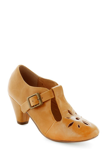 Burst of Style Heel in Mustard by Chelsea Crew - Yellow, Solid, Cutout, Vintage Inspired, 20s, 30s, Mid, Leather, Work, Faux Leather, Mary Jane, Variation, Summer, Better, T-Strap, Folk Art, 60s