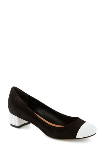 Contemporary Art Critic Heel - Black, White, Solid, Studs, Colorblocking, Low, Leather, Suede, Vintage Inspired, 60s, Mod