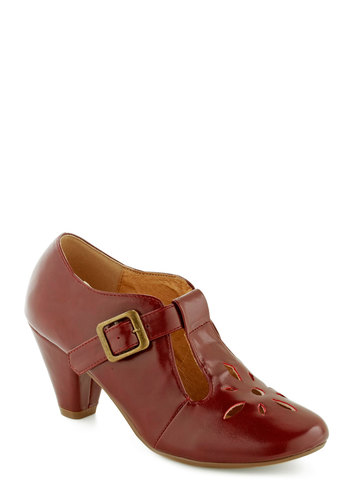 Burst of Style Heel in Burgundy by Chelsea Crew - Red, Solid, Cutout, Flower, Vintage Inspired, 20s, 30s, Buckles, Work, Mid, Leather, Faux Leather, Mary Jane, Variation, Folk Art, Gifts Sale