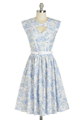 Picture Book Perfection Dress by Bernie Dexter - Cotton, Long, White, Blue, Floral, Cutout, Pockets, Belted, Daytime Party, A-line, Sleeveless, Crew, Vintage Inspired, French / Victorian, Pastel