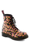 Deft Leopard Boot by Dr. Martens - Pink, Black, Yellow, Animal Print, Lace Up, Casual, Vintage Inspired, Urban, Fall