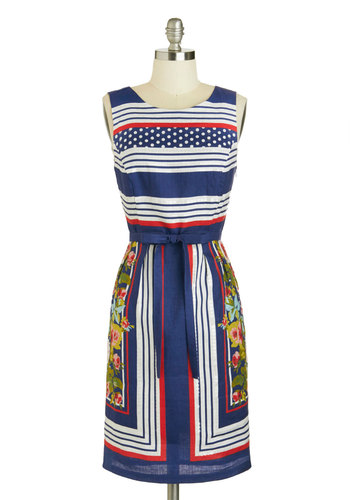 Florist in Command Dress - Mid-length, Blue, Red, Green, White, Print, Belted, Party, Sheath / Shift, Tank top (2 thick straps), Scoop, Spring