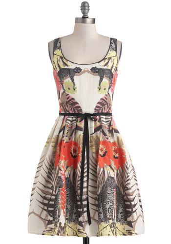 The Forest Flora Dress by Corey Lynn Calter - A-line, Exclusives, Cream, Multi, Print with Animals, Belted, Daytime Party, Tank top (2 thick straps), Scoop, Summer, Mid-length, Pockets, Cats, Statement