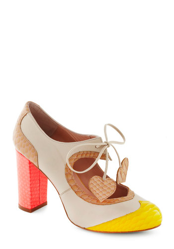Heart Work and Dedication Heel in Bright by Minna Parikka - Mid, Leather, Multi, Animal Print, Colorblocking, Lace Up, Chunky heel, International Designer, Vintage Inspired, Luxe, Spring, Variation, Valentine's