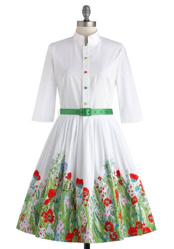 Beyond the Meadow Dress - White, Red, Green, Floral, Buttons, Belted, Party, Fit & Flare, 3/4 Sleeve, Spring, International Designer, Cotton, Daytime Party, Vintage Inspired, 50s, Shirt Dress, Collared, Pockets