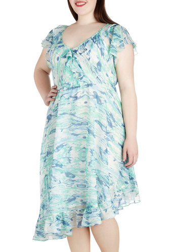 Hopes and Streams Dress in Plus Size by JilRo - Sheer, White, Print, Ruffles, Party, A-line, V Neck, Blue, Wedding, Daytime Party, Cap Sleeves, Spring, Summer