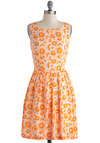 Blooming Poppies Dress - Pleats, A-line, Sleeveless, Spring, Print, Mid-length, Orange, White, Scoop, Casual, Vintage Inspired