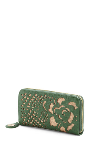 Pay It Floral Wallet by Darling - Green, Gold, Solid, Cutout, Flower, Glitter, International Designer