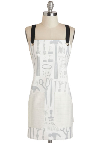 A Mess of Ideas Apron - White, Novelty Print, Menswear Inspired