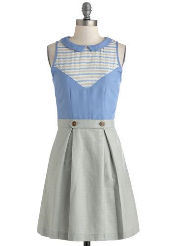Pebble Skipping Dress by Dear Creatures - Mid-length, Blue, Grey, Buttons, Peter Pan Collar, Pleats, Work, A-line, Sleeveless, Collared, Vintage Inspired, 60s, Spring