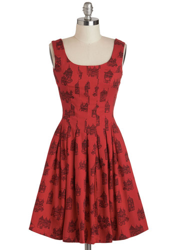 You've Got Skillshare Dress in Homes - Red, Black, Novelty Print, Pleats, Pockets, A-line, Tank top (2 thick straps), Scoop, Cotton, Casual, Quirky, Mid-length