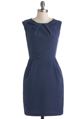 Glancing in the Moonlight Dress - Mid-length, Blue, Solid, Pockets, Work, Shift, Sleeveless, Crew, Minimal