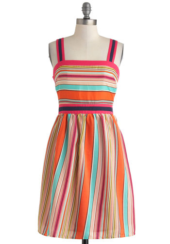 Fruit-Striped Fun Dress - Mid-length, Multi, Stripes, Casual, A-line, Spaghetti Straps, Summer