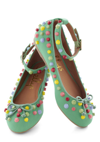 Everlasting Mod Shopper Flat - Green, Multi, Bows, Flat, Faux Leather, International Designer, Statement, Spring