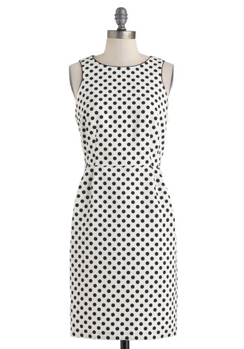 Best Ben-Day Ever Dress - Mid-length, Black, Polka Dots, Exposed zipper, Party, Shift, Tank top (2 thick straps), Crew, Cocktail, Work, White