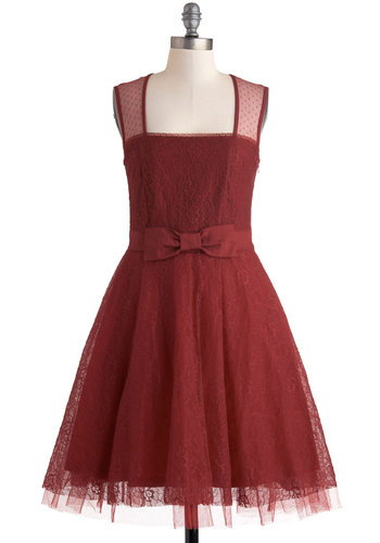 Entrancing in Scarlet Dress - Vintage Inspired, 50s, Red, Solid, Bows, Lace, Prom, Cocktail, Fit & Flare, Sleeveless, Long, Sheer