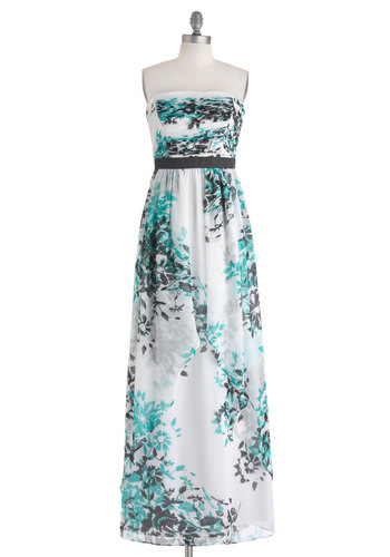 Grotto Gala Dress by Max and Cleo - Long, Blue, Black, Floral, Ruching, Maxi, Strapless, Wedding, Spring, White