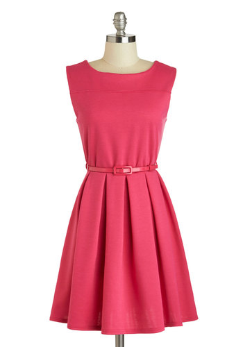 'Tis a Shift to Be Simple Dress in Haute Pink - Mid-length, Pink, Solid, Pleats, Belted, Party, Sleeveless, Boat, Variation